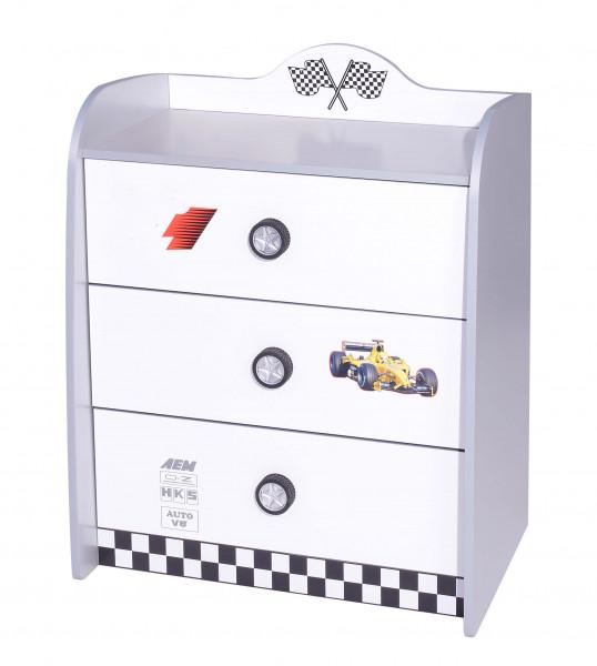 Wäschekommode Turbo weiß mit 3 großen Schubladen
