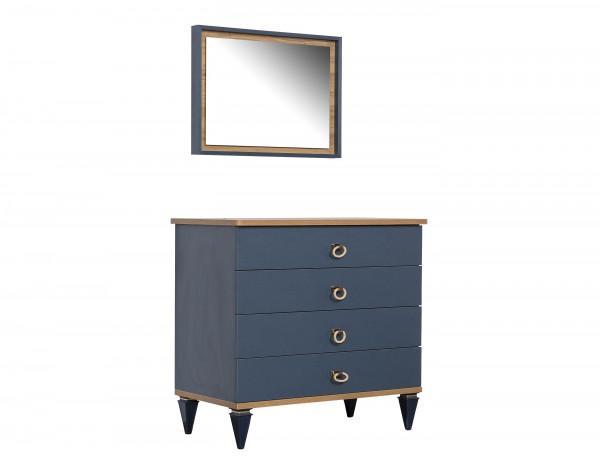 Wäschekommode Gusto mit Spiegel blau
