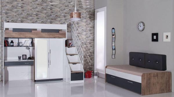 Hochbett mit Schrank Compact 90x200 cm und Schreibtisch