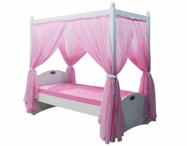 Himmelbett Cindy weiß rosa 90x200cm mit Vorhang