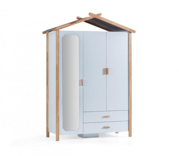 Kleiderschrank House 3-türig weiß Buche massiv
