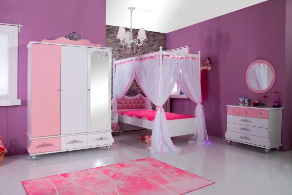 Kinderzimmer Anastasia rosa mit Himmelbett 5-teiliges Komplett Set