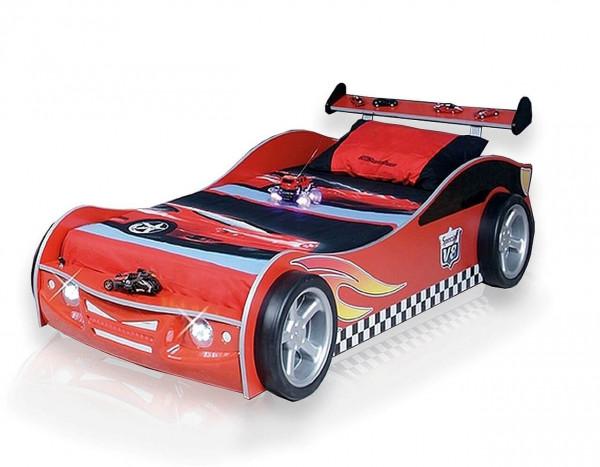 Autobett Turbo V4 rot mit LED