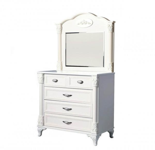 Wäschekommode mit Spiegel Romantic Weiß Matt