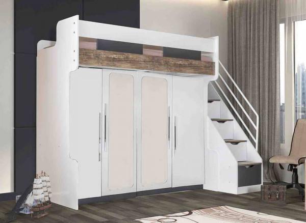 Hochbettset Compact mit 2 Schränken und Schubladentreppe 90x200 cm