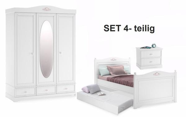 Sparset Kinderzimmer RUSTICA weiß, 4-teilig mit Kinderbett 100x200cm