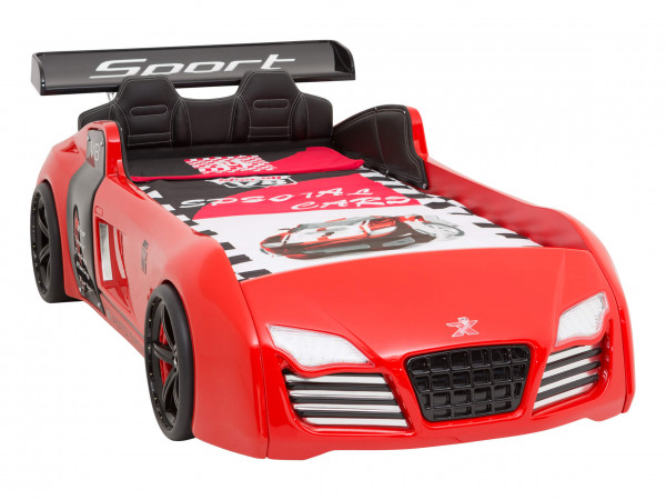 Autobett Turbo V8 Sport rot, LED Beleuchtung