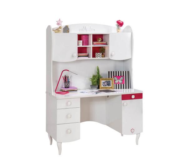 Schreibtisch mit Aufsatz Sweety weiß pink