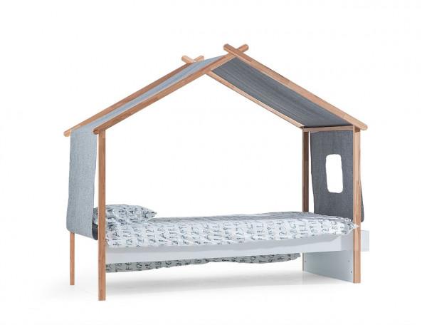 Kinderbett House mit Dachhimmel 90x200 cm weiß Buche massiv