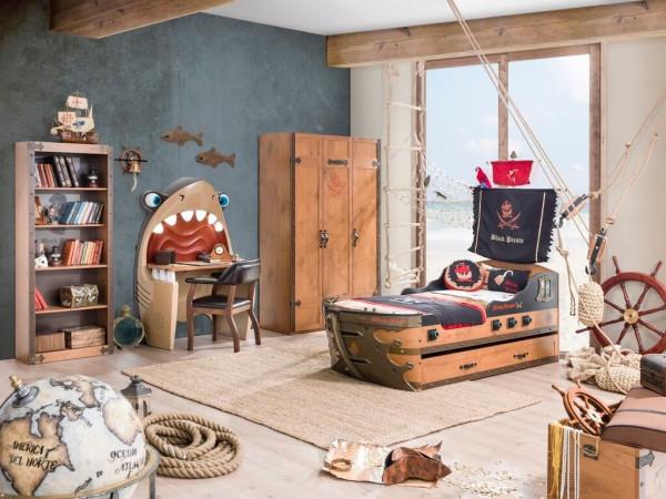 Kinderzimmer Pirat braun mit Schiffbett 5-teilig