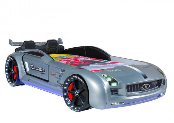 Autobett Roadster Sport LED Sound und Innenpolsterung silber 90x190 cm