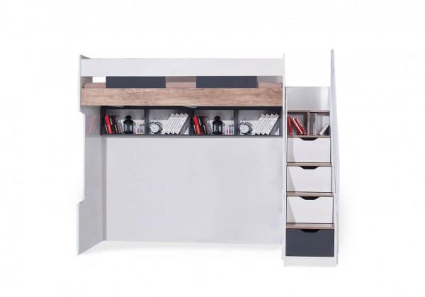 Hochbett mit Treppe 90x200 cm Compact weiß Eiche