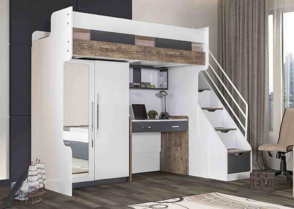 Multifunktion Hochbett mit Schrank und Schreibtisch Compact 90x200 cm