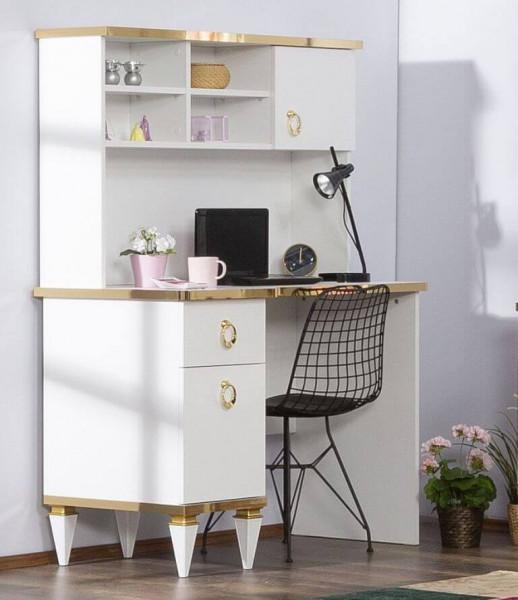 Schreibtisch Stella weiß gold mit Aufsatz