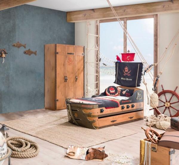 Komplett Kinderzimmer Pirat mit Schiffbett braun 2-teilig