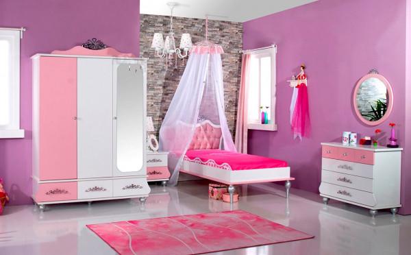 Mädchenzimmer Set Anastasia rosa 4-teilig