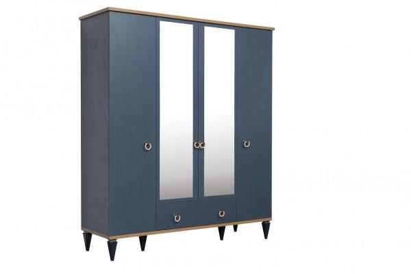 Kleiderschrank Gusto blau 4-trg mit 2 Spiegel