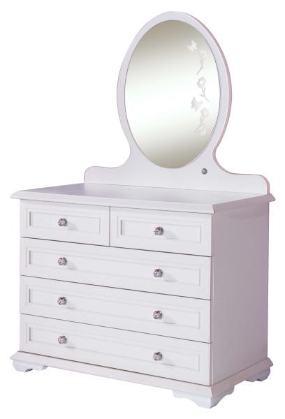 Wäschekommode Cindy weiß mit LED Spiegel