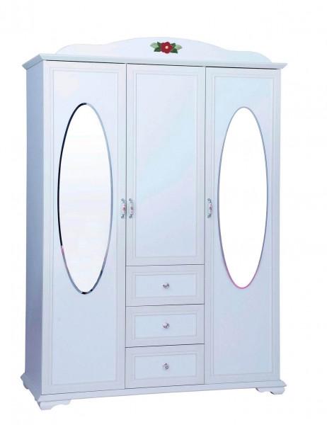 Kleiderschrank Cindy 3-türig mit 2 Spiegel weiß