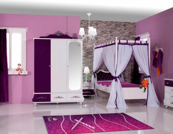 Mädchenzimmer 4-teilig Anastasia lila mit Himmelbett