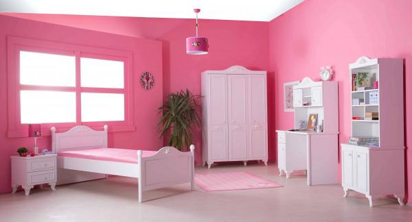 Komplett Mädchenzimmer Siena weiß 7-teilig