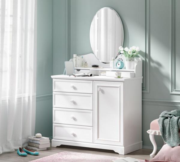 Wäschekommode RUSTICA weiß, mit Spiegelaufsatz