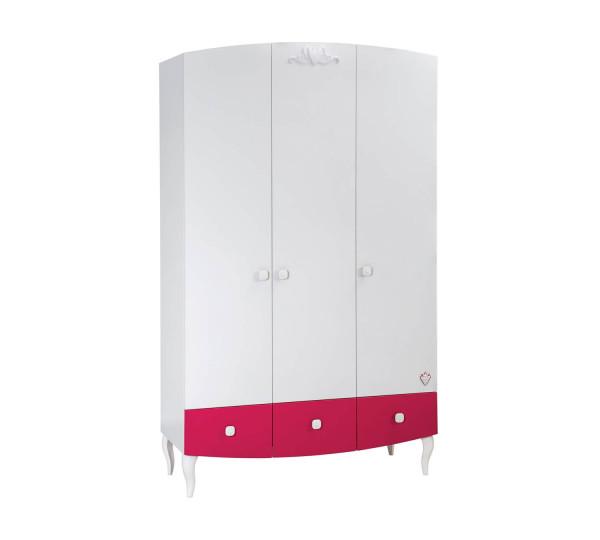 Kleiderschrank 3-trg Sweety weiß pink mit LED Beleuchtung