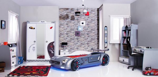 Komplett Kinderzimmer Turbo weiß mit Autobett Roadster 6-teilig