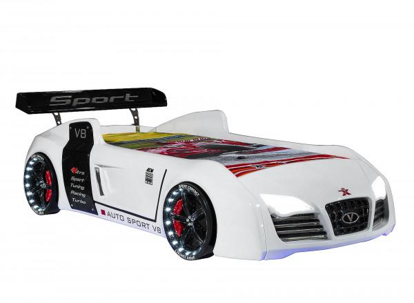 Autobett Turbo V8 weiß mit LED und Soundgeräuschen