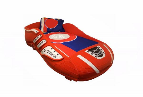 Kinderbett Fußballschuh 90x190 cm rot Champion mit Matzratze, 90x190 cm