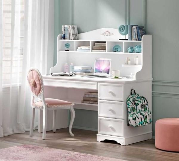 Schreibtisch RUSTICA weiß, 4 Schubladen mit Soft Close