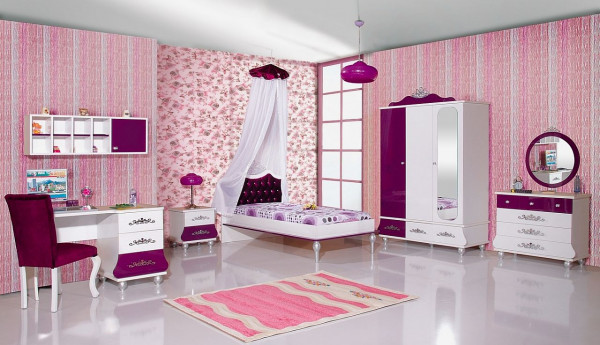 Kinderzimmer 9-teilig Prinzessin Anastasia Mädchenmöbel lila, Spar Set