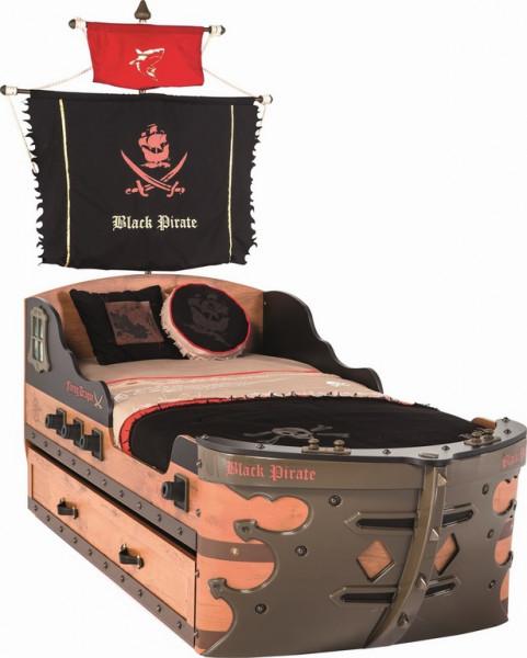 Schiffbett Pirat 90x190 cm braun mit Bettschubkasten