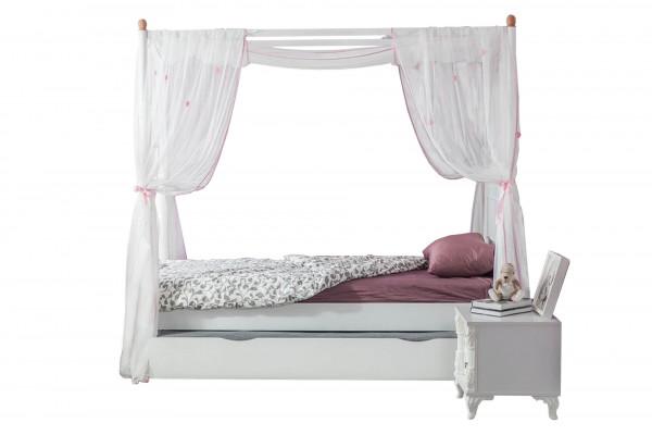 Himmelbett Romantic 90x200 cm mit Bettschubkasten Weiß Matt