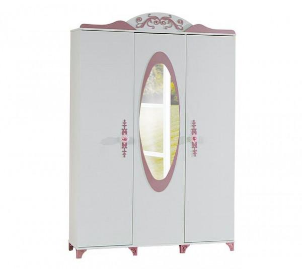 Kleiderschrank Pretty rosa 3-türig mit Spiegel