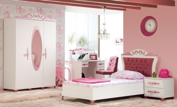 Kinderzimmer Pretty Mädchenzimmer 4-teilig, weiß/rosa