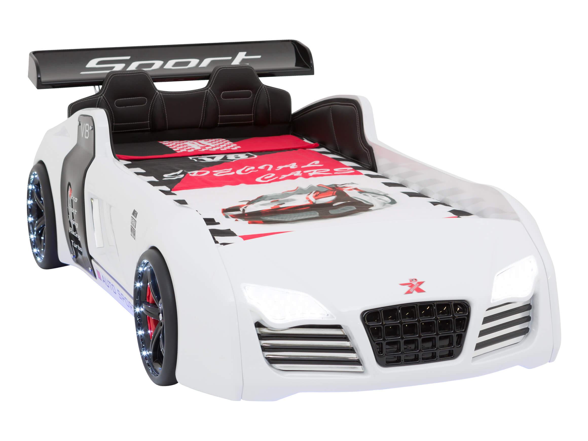 Autobett Turbo V8 Sport Weiß Mit Led Inkl Rollrost