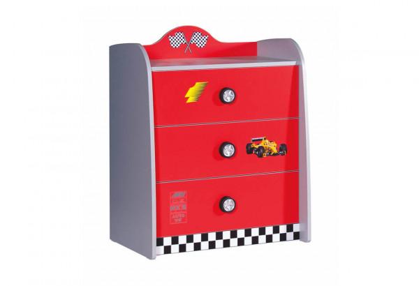 Wäschekommode Turbo rot 3 Schubladen