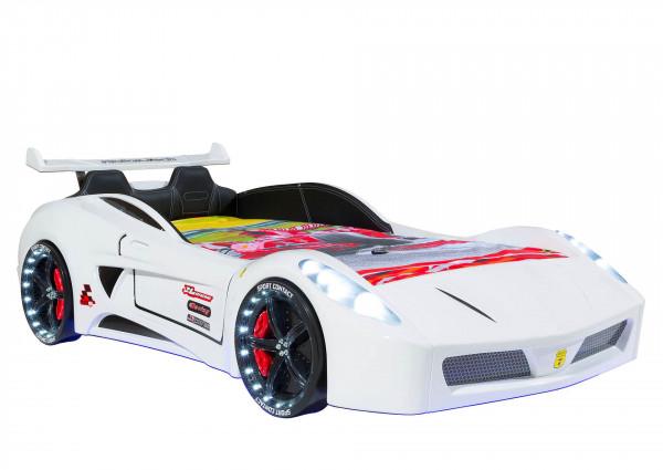 Autobett Turbo V7 Sport weiß mit LED und Sound