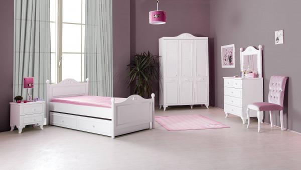 Barock Mädchenzimmer Siena Weiß 4-teilig