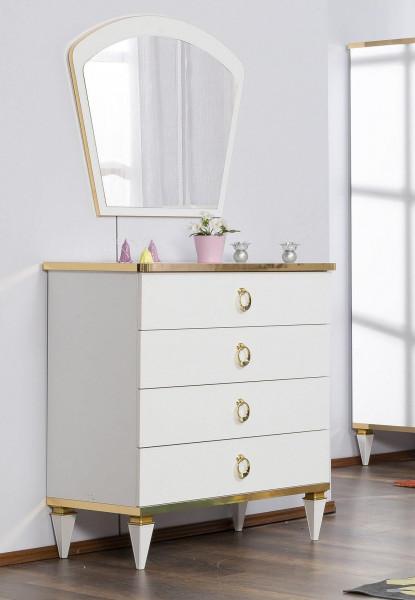 Wäschekommode Stella weiß gold mit Spiegel
