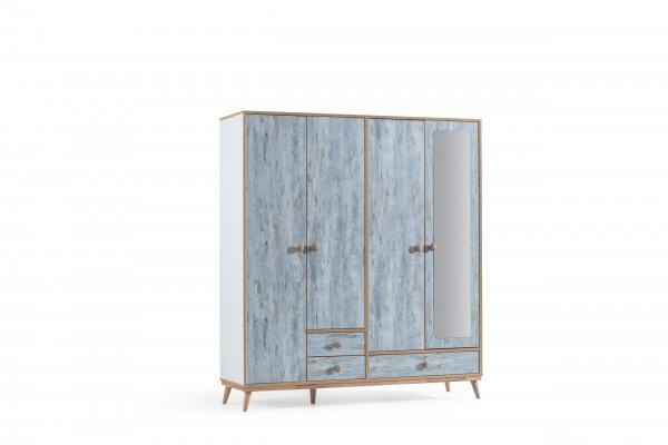 Kleiderschrank Aquasi 4-türig weiß blau