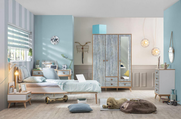 Kinderzimmer Set Aquasi 4-teilig weiß blau im Skandi Stil