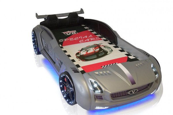 Autobett Cabriolet Sport LED Sound und Innenpolsterung silber