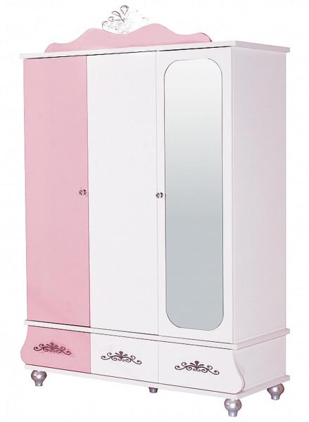 Kleiderschrank Anastasia rosa mit Spiegel 3-türig Hochglanz
