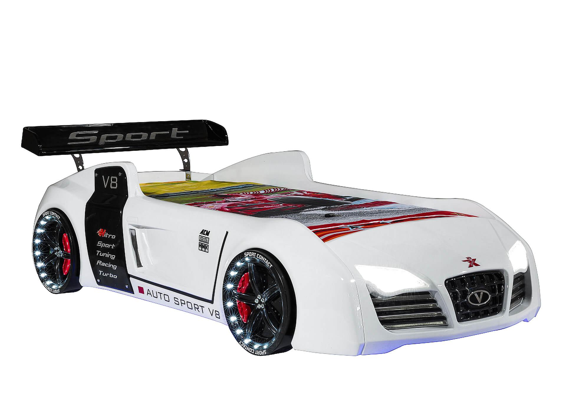 Autobett Turbo V8 weiß 90x190 cm