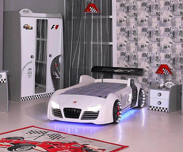 Kinderzimmer Turbo weiß Spar Set mit Autobett 3-teilig