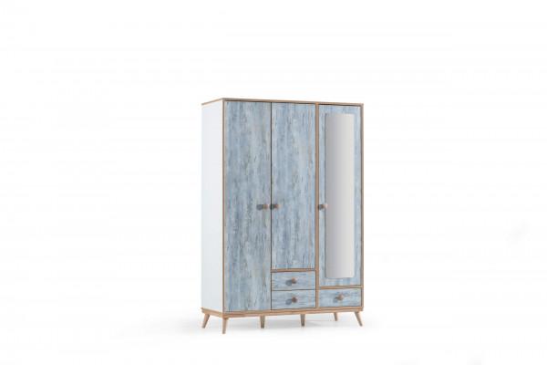 Kleiderschrank Aquasi 3-türig weiß blau
