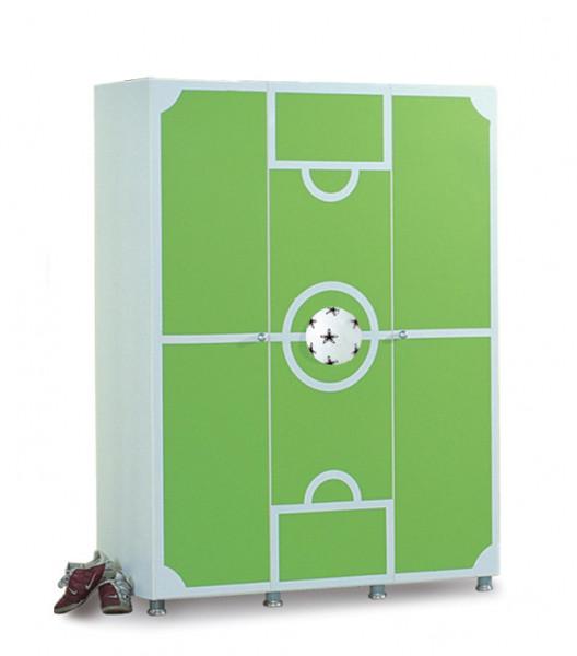 Kleiderschrank Fußball 3-türig grün