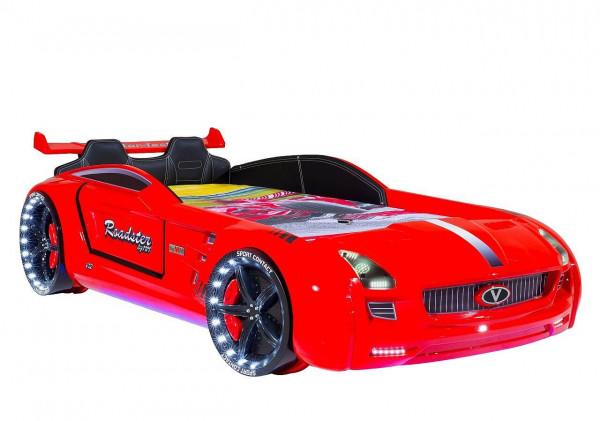 Autobett Roadster Sport mit Innenpolsterung und LED in rot 90x190 cm